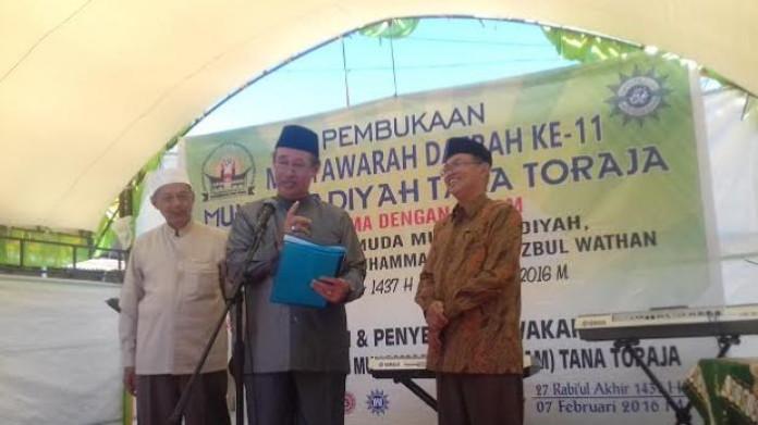 Ketua Pimpinan Wilayah Muhammadiyah Sulawesi Selatan Prof Ambo Asse saat pembukaan Musda ke-11 Muhammadiyah Toraja di Makale, kemarin.