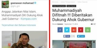 postingan di twitter Gunawan Mohammad dan Konfirmasi Berita di Sang Pencerah