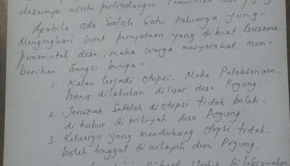 Surat Penolakan Otopsi Siyono