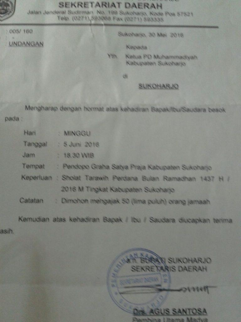 Surat undangan sholat tarawih perdana malam ini