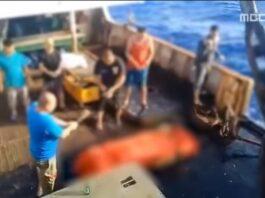 Screenshoot Video Saat Jenazah ABK Indonesia Dibuang ke Laut